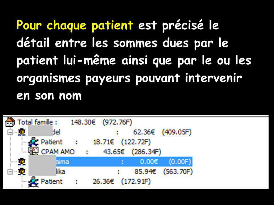 Pour chaque patient est précisé le détail entre les sommes dues par le patient lui-même ainsi que par le ou les organismes payeurs pouvant intervenir en son nom