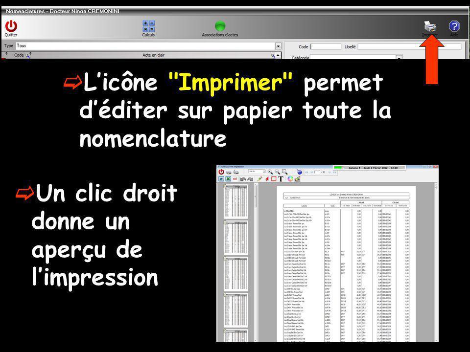 Licône Imprimer permet déditer sur papier toute la nomenclature Un clic droit donne un aperçu de limpression