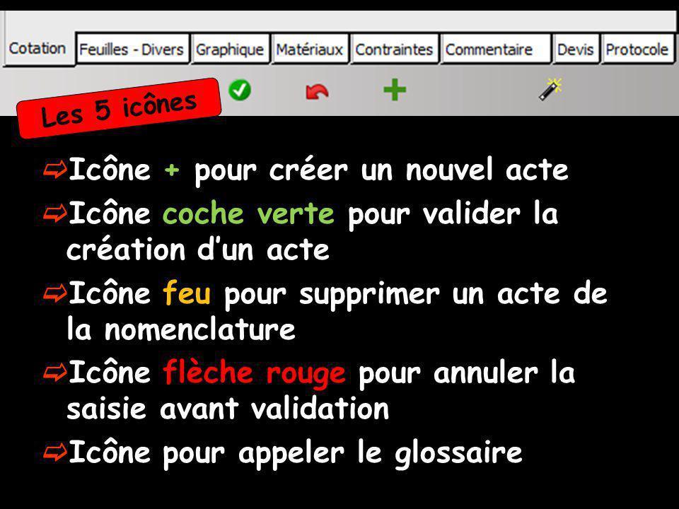 Icône + pour créer un nouvel acte Icône coche verte pour valider la création dun acte Icône feu pour supprimer un acte de la nomenclature Icône flèche rouge pour annuler la saisie avant validation Icône pour appeler le glossaire Les 5 icônes