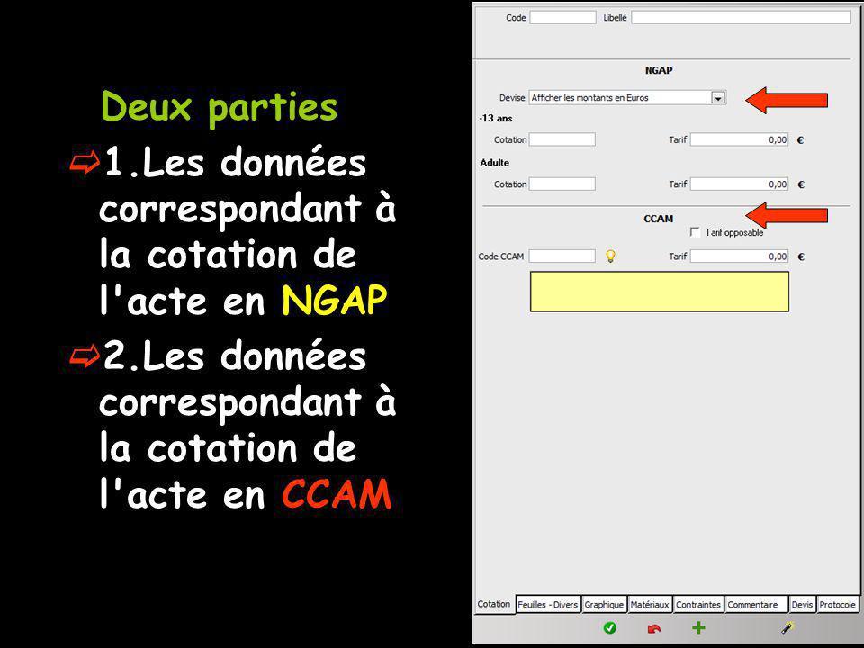 Deux parties 1.Les données correspondant à la cotation de l acte en NGAP 2.Les données correspondant à la cotation de l acte en CCAM