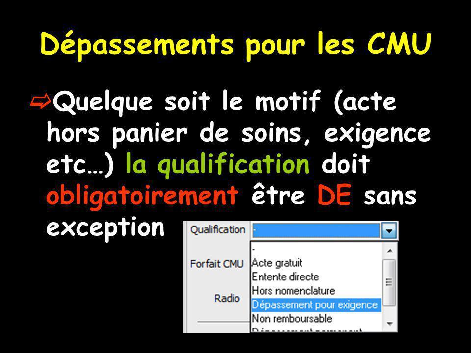 Dépassements pour les CMU Quelque soit le motif (acte hors panier de soins, exigence etc…) la qualification doit obligatoirement être DE sans exception