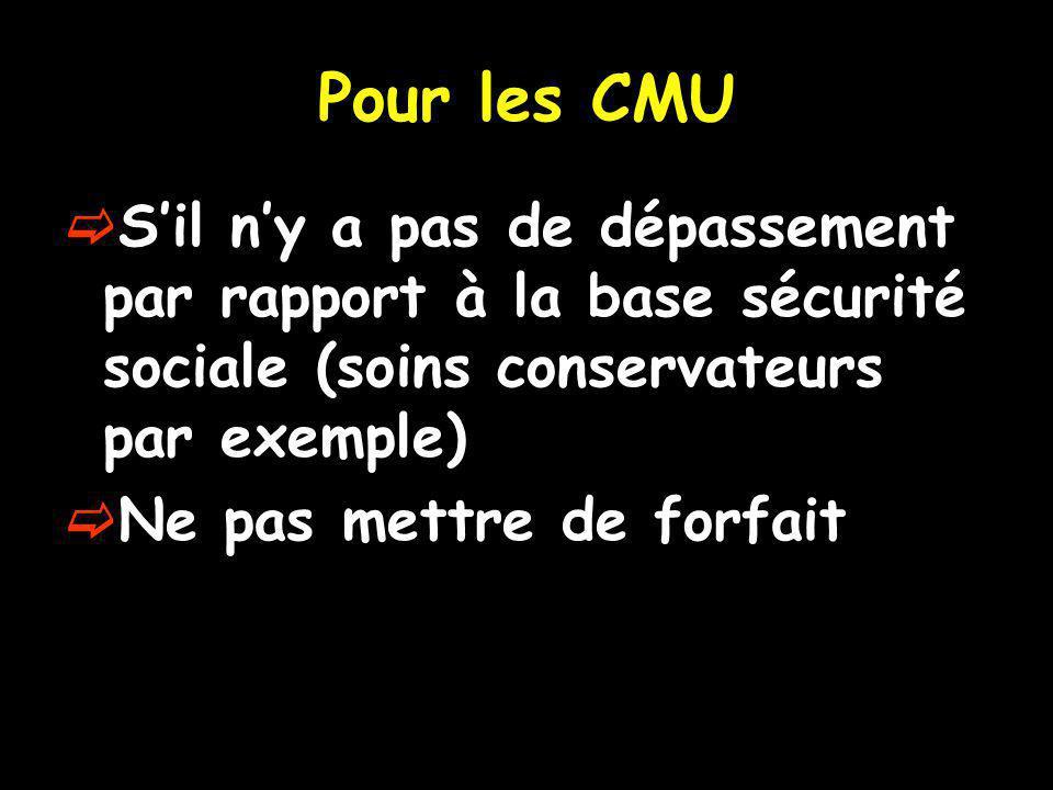 Pour les CMU Sil ny a pas de dépassement par rapport à la base sécurité sociale (soins conservateurs par exemple) Ne pas mettre de forfait