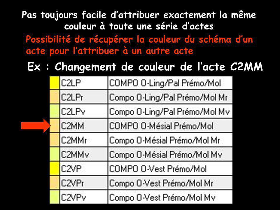 Pas toujours facile dattribuer exactement la même couleur à toute une série dactes Ex : Changement de couleur de lacte C2MM Possibilité de récupérer la couleur du schéma dun acte pour lattribuer à un autre acte