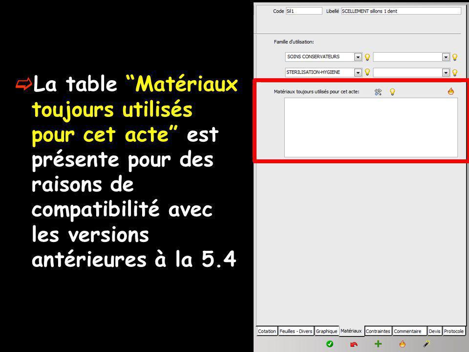 La table Matériaux toujours utilisés pour cet acte est présente pour des raisons de compatibilité avec les versions antérieures à la 5.4