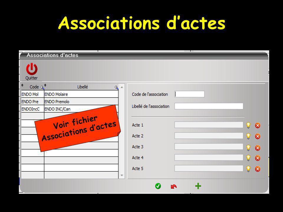 Associations dactes Voir fichier Associations dactes