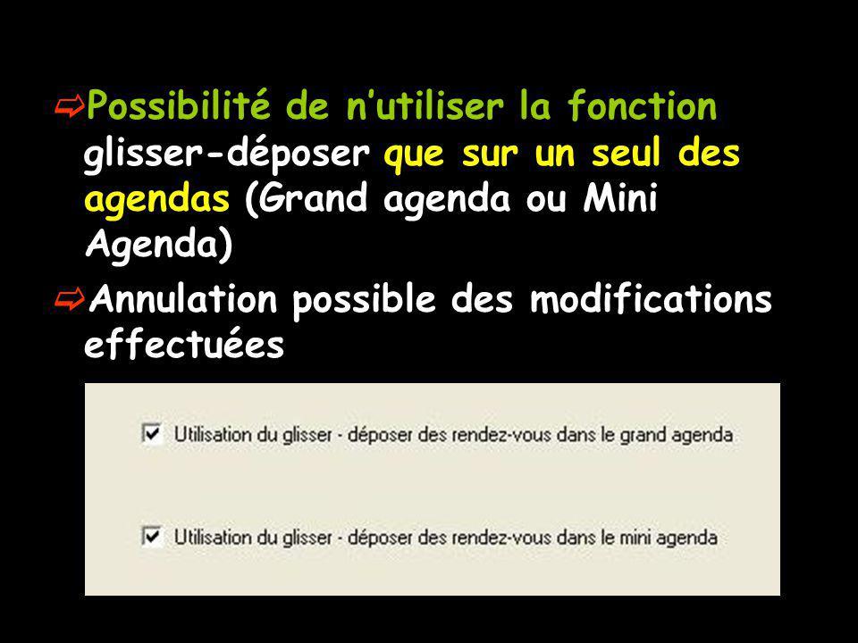 Possibilité de nutiliser la fonction glisser-déposer que sur un seul des agendas (Grand agenda ou Mini Agenda) Annulation possible des modifications effectuées