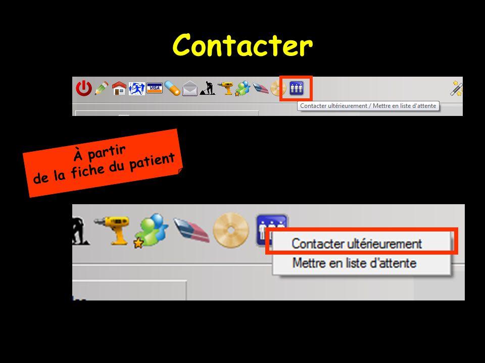 Contacter À partir de la fiche du patient