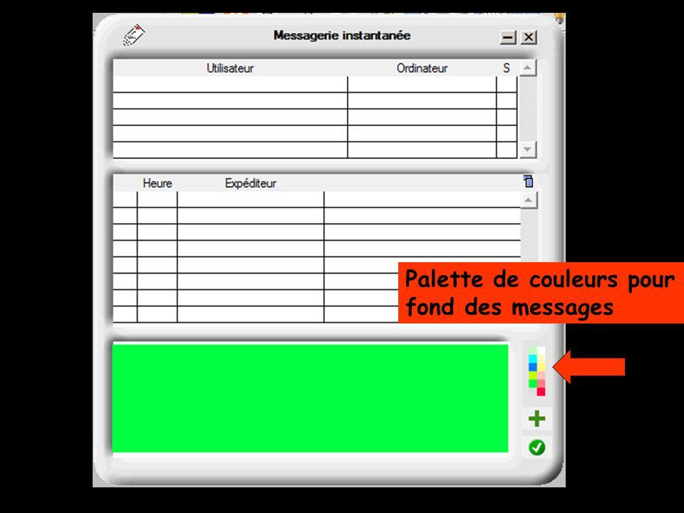 Palette de couleurs pour fond des messages