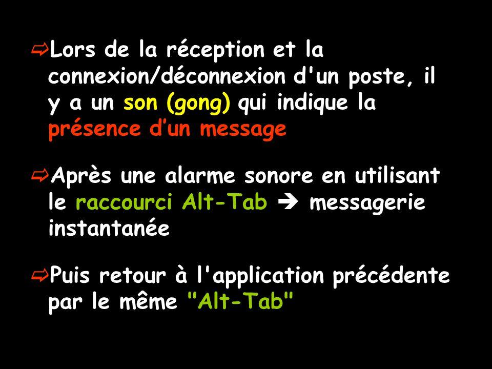 Lors de la réception et la connexion/déconnexion d un poste, il y a un son (gong) qui indique la présence dun message Après une alarme sonore en utilisant le raccourci Alt-Tab messagerie instantanée Puis retour à l application précédente par le même Alt-Tab