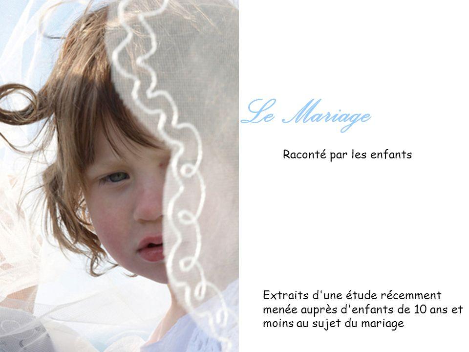 Raconté par les enfants Le Mariage Extraits d'une étude récemment menée auprès d'enfants de 10 ans et moins au sujet du mariage