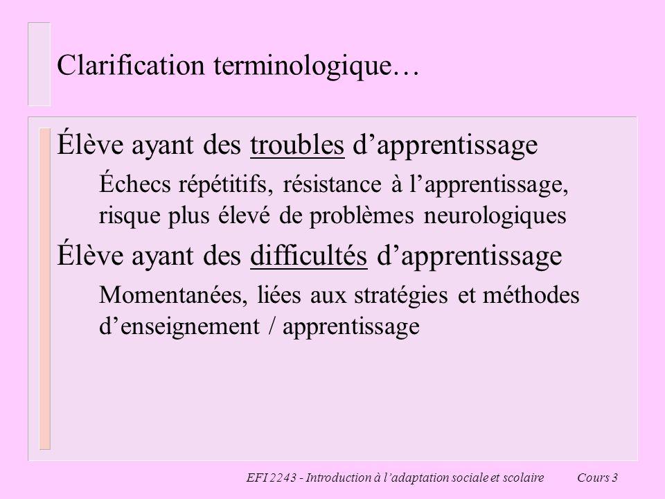 EFI 2243 - Introduction à ladaptation sociale et scolaire Cours 3 Clarification terminologique… Élève ayant des troubles dapprentissage Échecs répétit