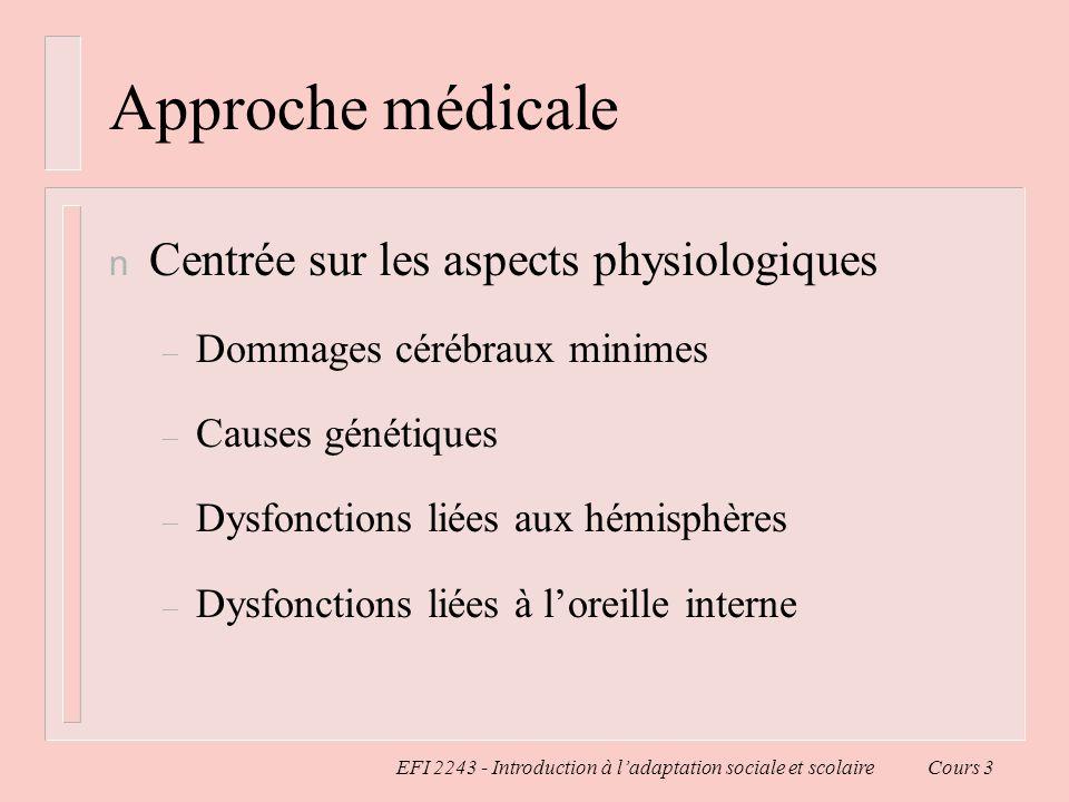 EFI 2243 - Introduction à ladaptation sociale et scolaire Cours 3 Approche médicale n Centrée sur les aspects physiologiques – Dommages cérébraux mini