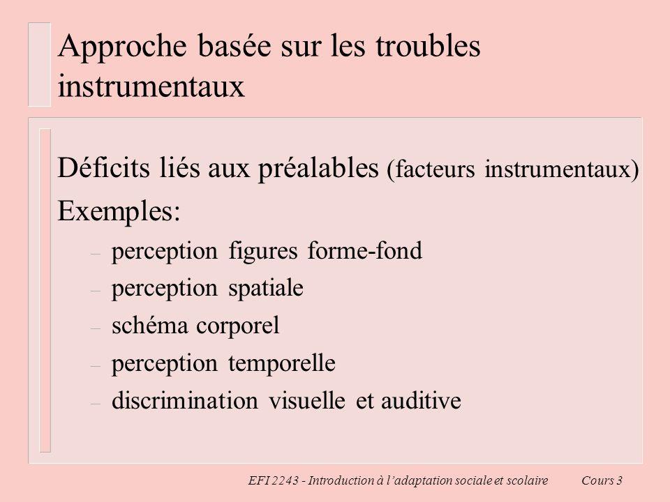 EFI 2243 - Introduction à ladaptation sociale et scolaire Cours 3 Approche basée sur les troubles instrumentaux Déficits liés aux préalables (facteurs