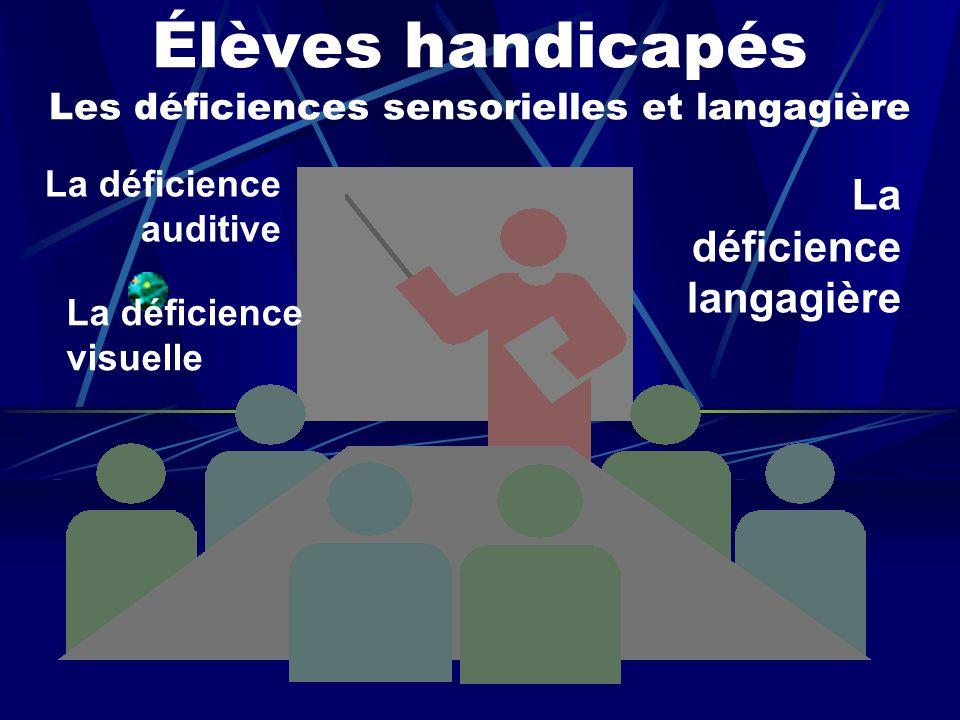 Élèves handicapés Les déficiences sensorielles et langagière La déficience auditive La déficience visuelle La déficience langagière