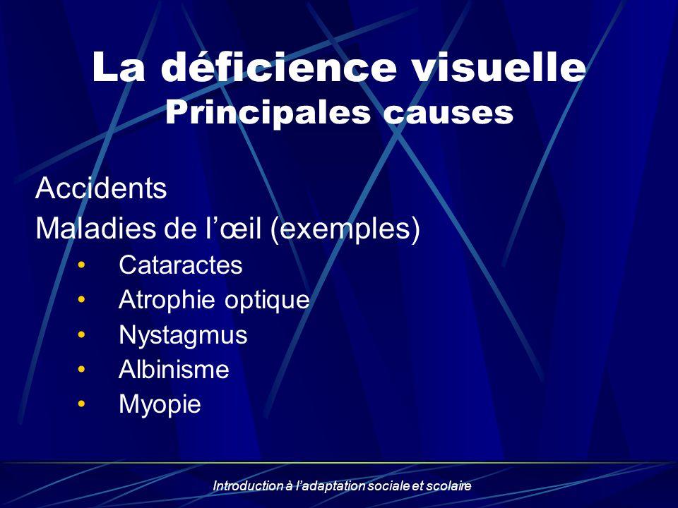 Introduction à ladaptation sociale et scolaire La déficience visuelle Principales causes Accidents Maladies de lœil (exemples) Cataractes Atrophie opt