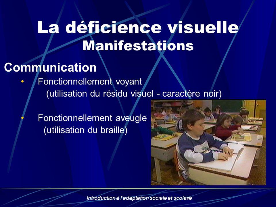 Introduction à ladaptation sociale et scolaire La déficience visuelle Manifestations Communication Fonctionnellement voyant (utilisation du résidu vis
