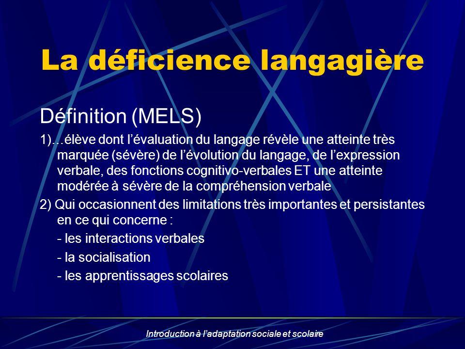 Introduction à ladaptation sociale et scolaire La déficience langagière Définition (MELS) 1)…élève dont lévaluation du langage révèle une atteinte trè