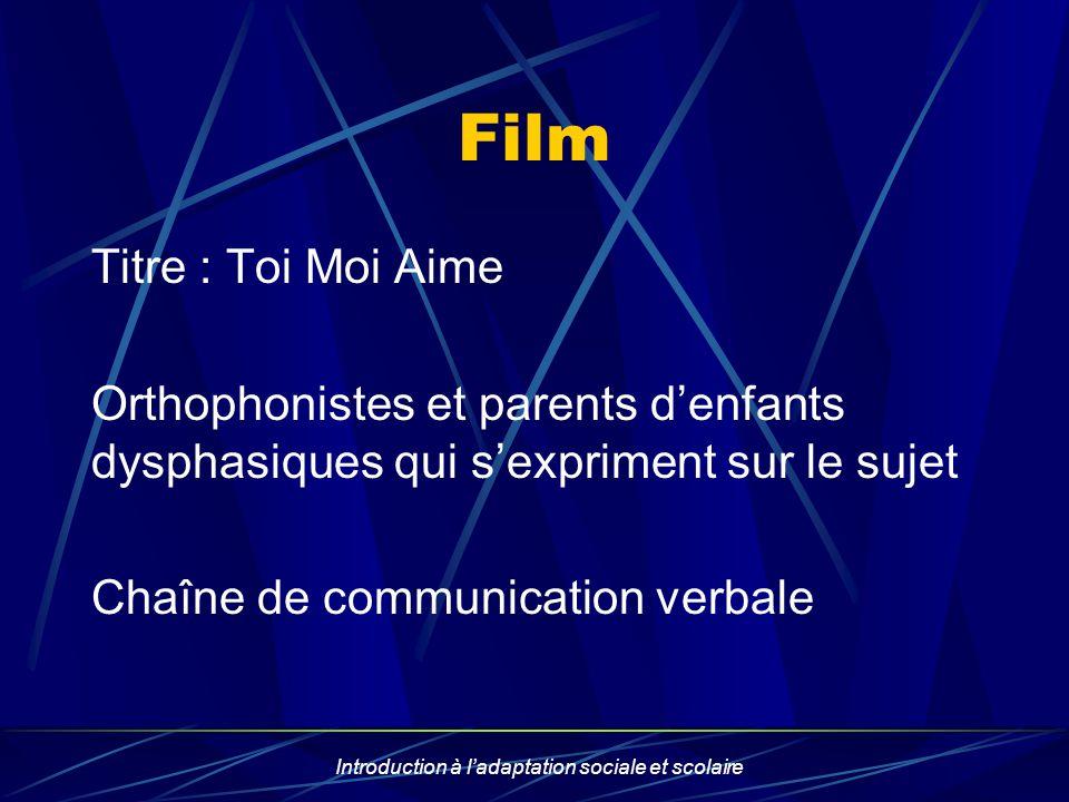 Introduction à ladaptation sociale et scolaire Film Titre : Toi Moi Aime Orthophonistes et parents denfants dysphasiques qui sexpriment sur le sujet C