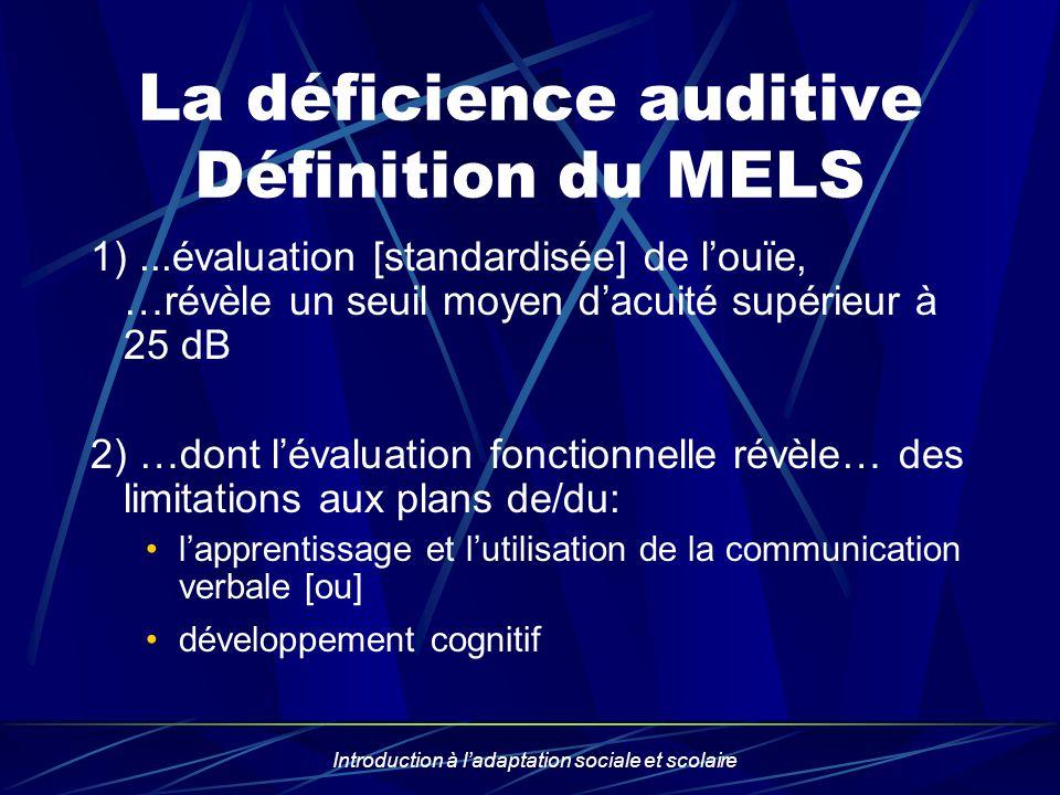 Introduction à ladaptation sociale et scolaire La déficience auditive Définition du MELS 1)...évaluation [standardisée] de louïe, …révèle un seuil moy