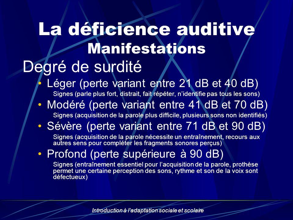 Introduction à ladaptation sociale et scolaire La déficience auditive Manifestations Degré de surdité Léger (perte variant entre 21 dB et 40 dB) Signe