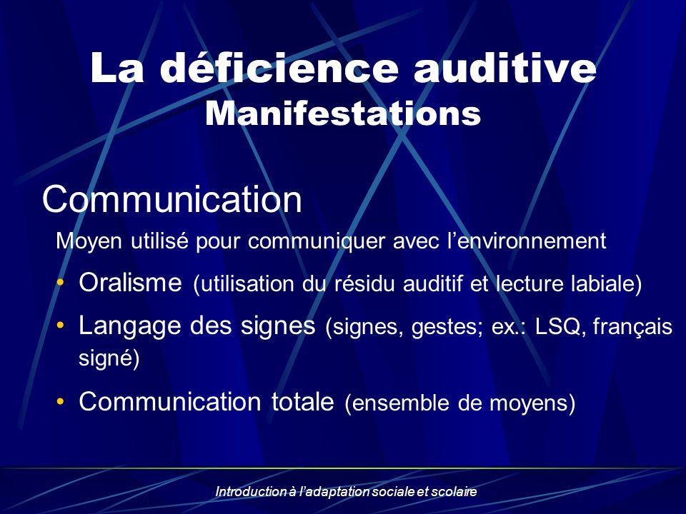 Introduction à ladaptation sociale et scolaire La déficience auditive Manifestations Communication Moyen utilisé pour communiquer avec lenvironnement