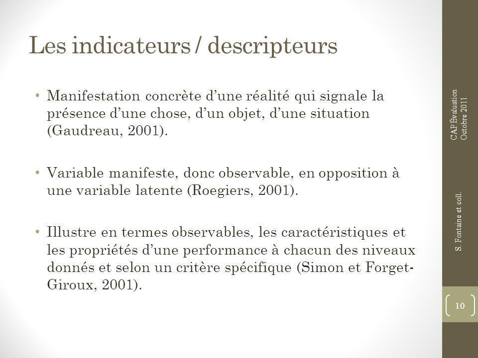 Les indicateurs / descripteurs Manifestation concrète dune réalité qui signale la présence dune chose, dun objet, dune situation (Gaudreau, 2001). Var