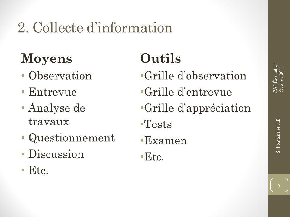 2. Collecte dinformation Moyens Observation Entrevue Analyse de travaux Questionnement Discussion Etc. Outils Grille dobservation Grille dentrevue Gri