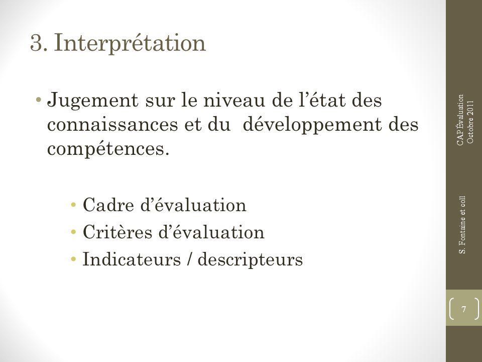 3. Interprétation Jugement sur le niveau de létat des connaissances et du développement des compétences. Cadre dévaluation Critères dévaluation Indica