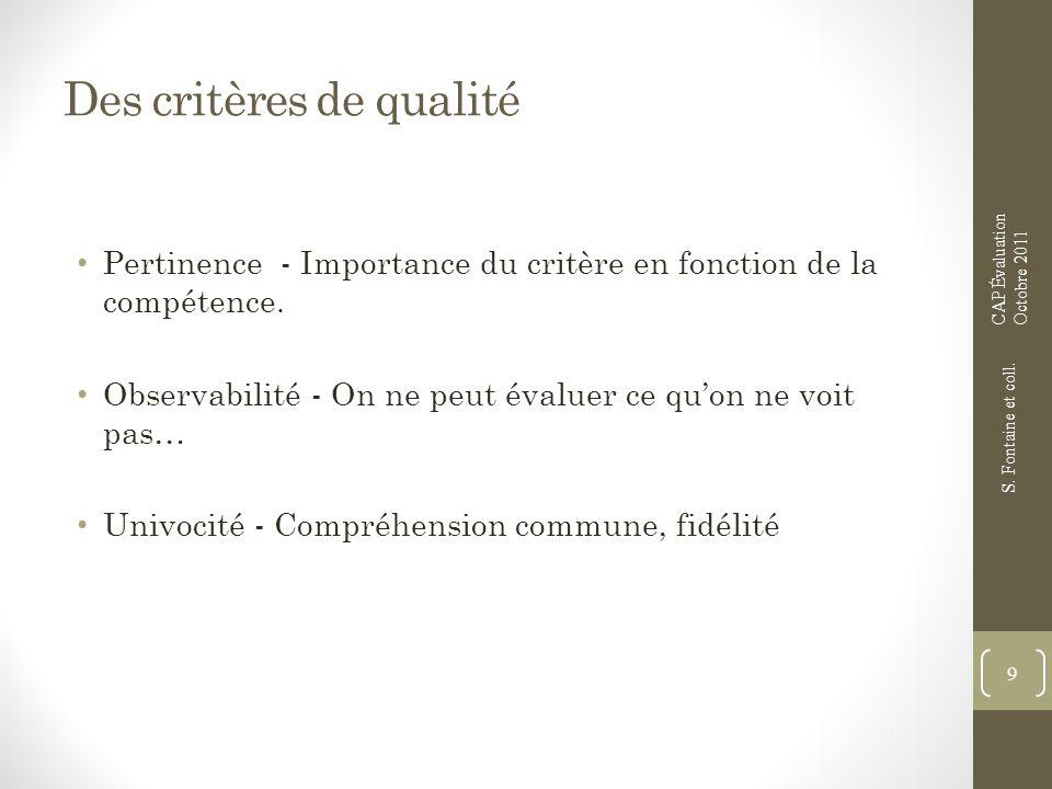 Des critères de qualité Pertinence - Importance du critère en fonction de la compétence. Observabilité - On ne peut évaluer ce quon ne voit pas… Univo