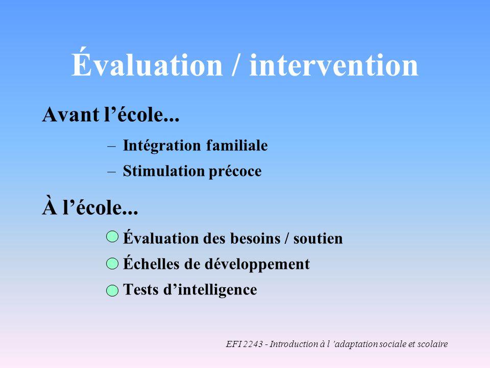 Évaluation / intervention Avant lécole...–Intégration familiale –Stimulation précoce À lécole...