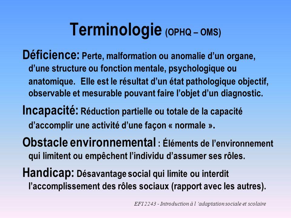 Déficience: Perte, malformation ou anomalie dun organe, dune structure ou fonction mentale, psychologique ou anatomique.