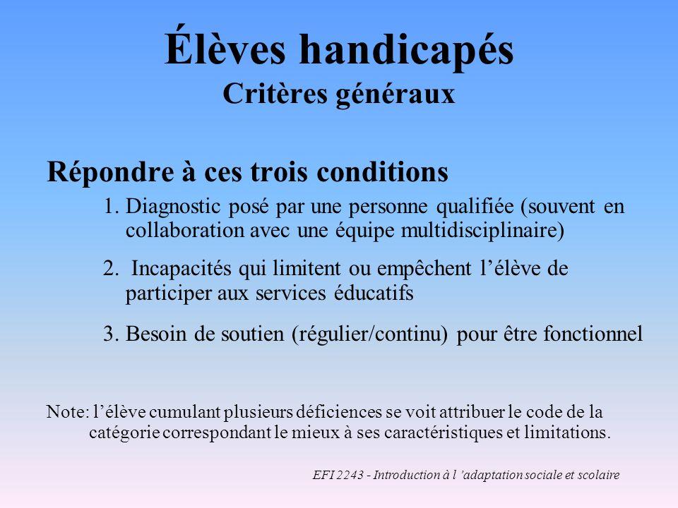Élèves handicapés Critères généraux Répondre à ces trois conditions 1.
