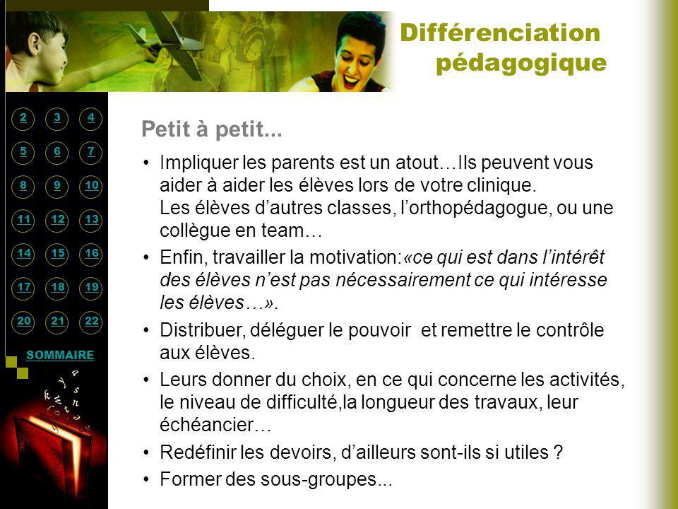 Petit à petit... Différenciation pédagogique Impliquer les parents est un atout…Ils peuvent vous aider à aider les élèves lors de votre clinique. Les