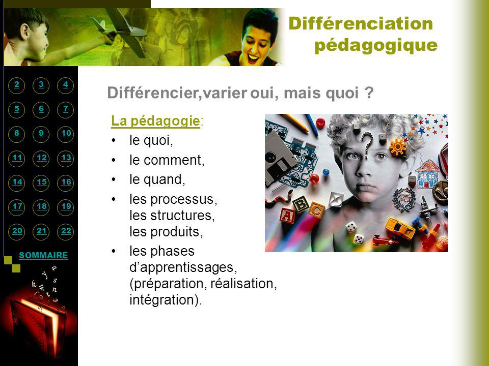 Différencier,varier oui, mais quoi ? La pédagogie: le quoi, le comment, le quand, les processus, les structures, les produits, les phases dapprentissa