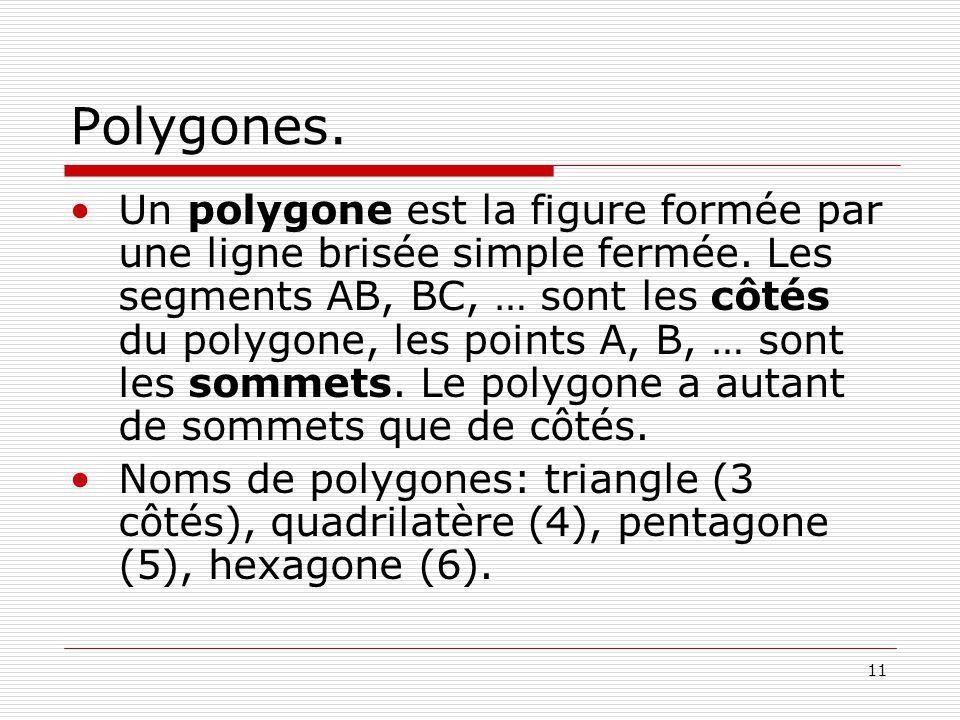 11 Polygones.Un polygone est la figure formée par une ligne brisée simple fermée.