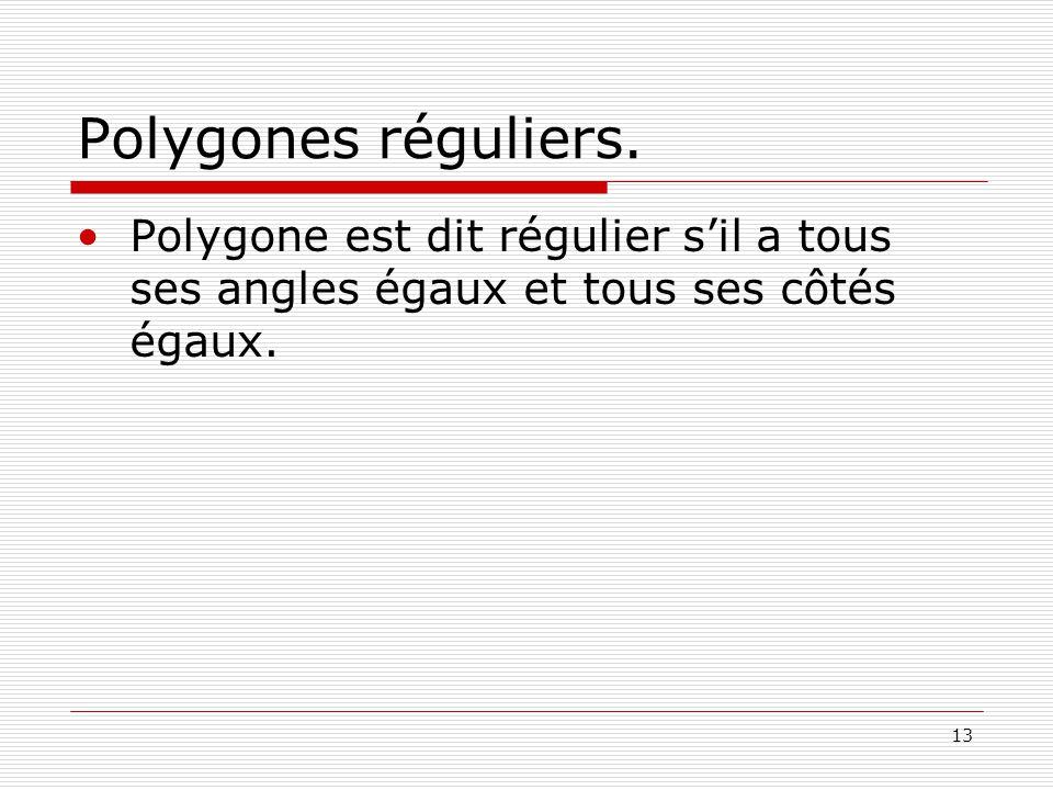 13 Polygones réguliers.