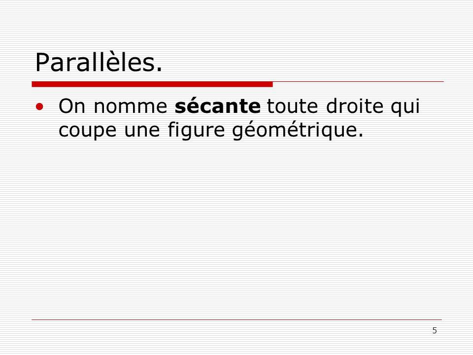 5 Parallèles. On nomme sécante toute droite qui coupe une figure géométrique.