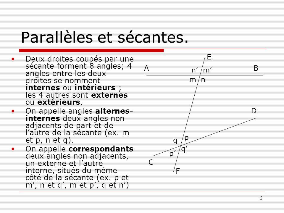 17 Quadrilatères.Parallélogramme.