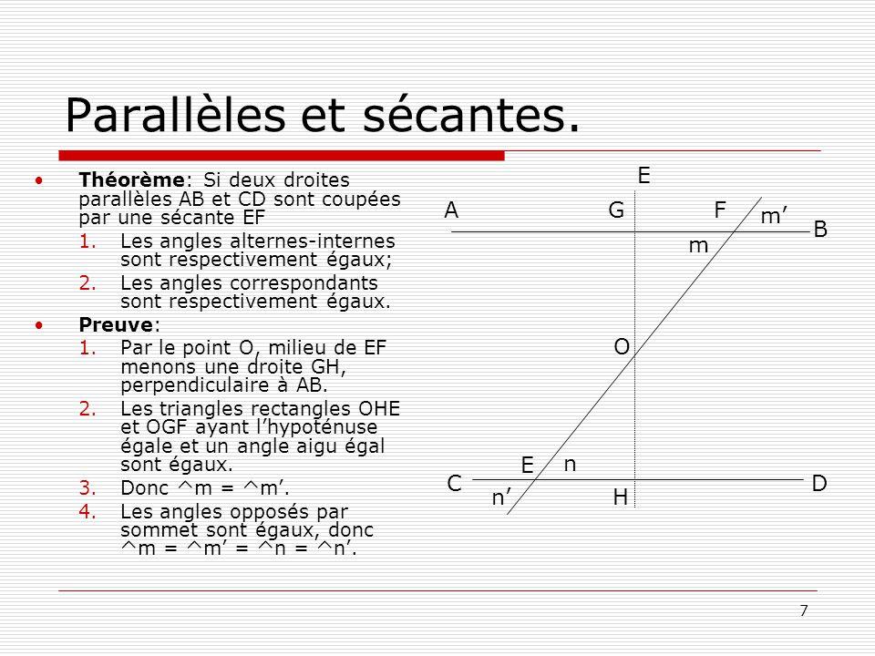 7 Parallèles et sécantes.