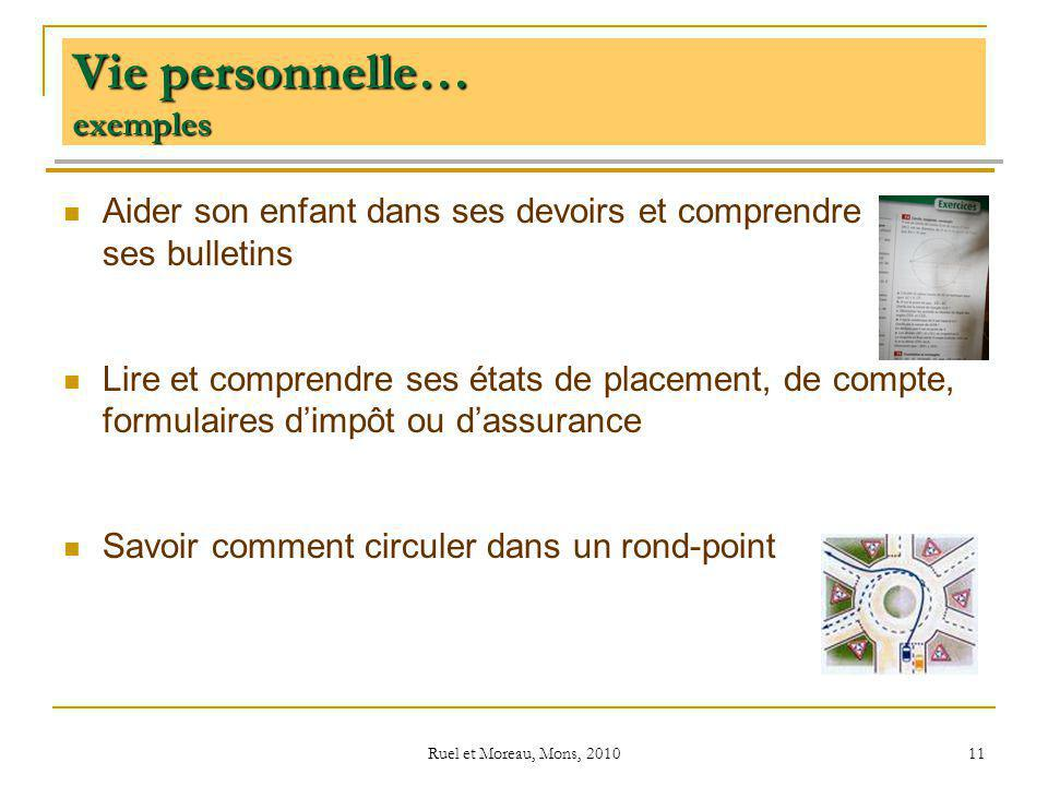 Ruel et Moreau, Mons, 2010 11 Vie personnelle… exemples Aider son enfant dans ses devoirs et comprendre ses bulletins Lire et comprendre ses états de