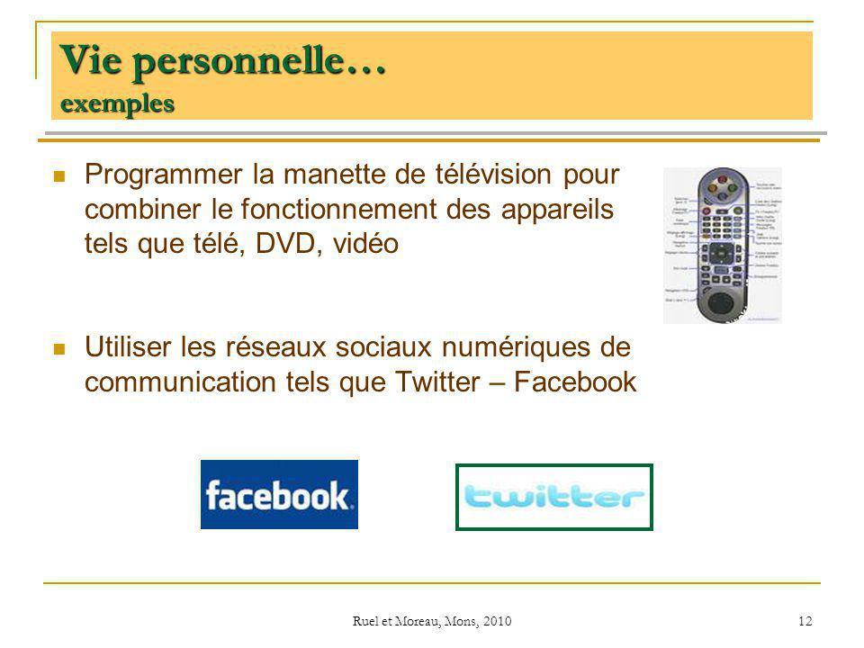 Ruel et Moreau, Mons, 2010 12 Vie personnelle… exemples Programmer la manette de télévision pour combiner le fonctionnement des appareils tels que tél