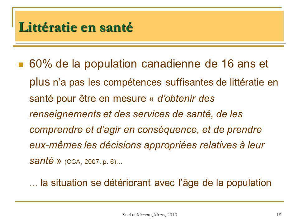 Ruel et Moreau, Mons, 2010 18 60% de la population canadienne de 16 ans et plus na pas les compétences suffisantes de littératie en santé pour être en