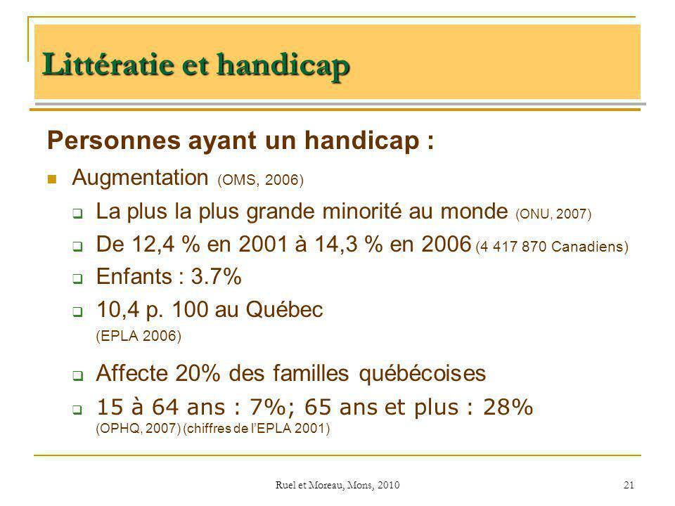 Ruel et Moreau, Mons, 2010 21 Personnes ayant un handicap : Augmentation (OMS, 2006) La plus la plus grande minorité au monde (ONU, 2007) De 12,4 % en