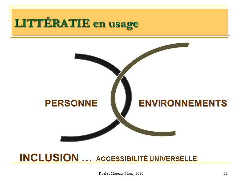 Ruel et Moreau, Mons, 2010 23 PERSONNEENVIRONNEMENTS INCLUSION … ACCESSIBILITÉ UNIVERSELLE LITTÉRATIE en usage