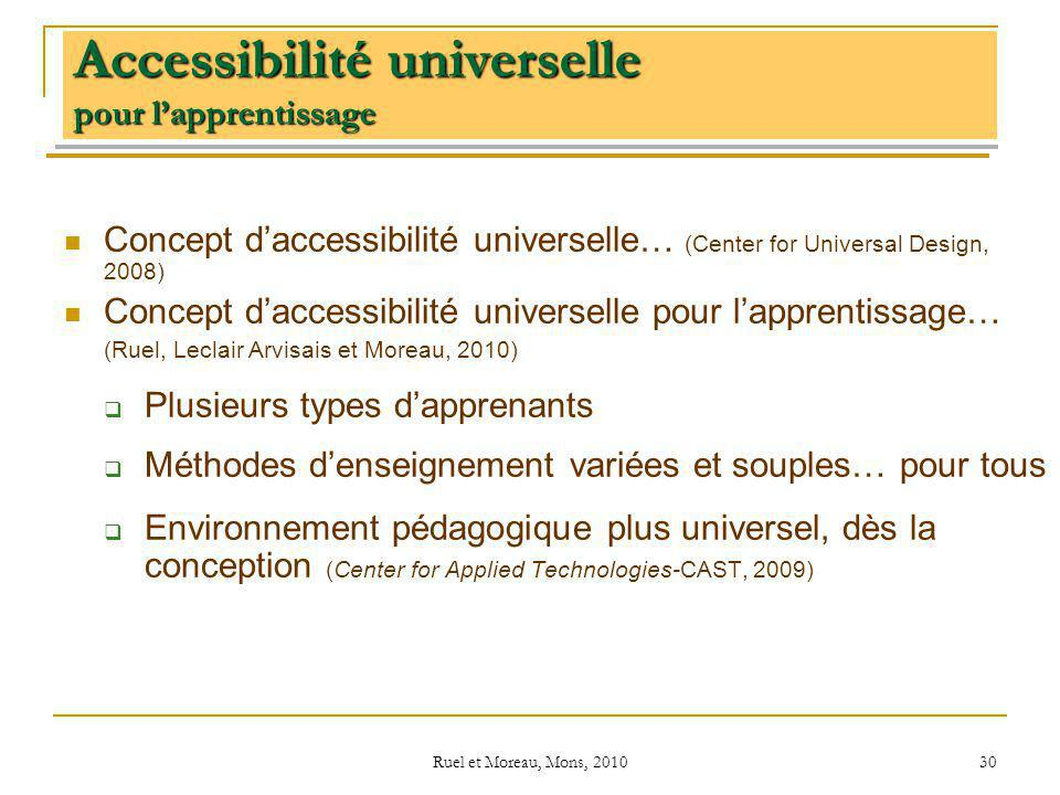 Ruel et Moreau, Mons, 2010 30 Accessibilité universelle pour lapprentissage Concept daccessibilité universelle… (Center for Universal Design, 2008) Concept daccessibilité universelle pour lapprentissage… (Ruel, Leclair Arvisais et Moreau, 2010) Plusieurs types dapprenants Méthodes denseignement variées et souples… pour tous Environnement pédagogique plus universel, dès la conception (Center for Applied Technologies-CAST, 2009)