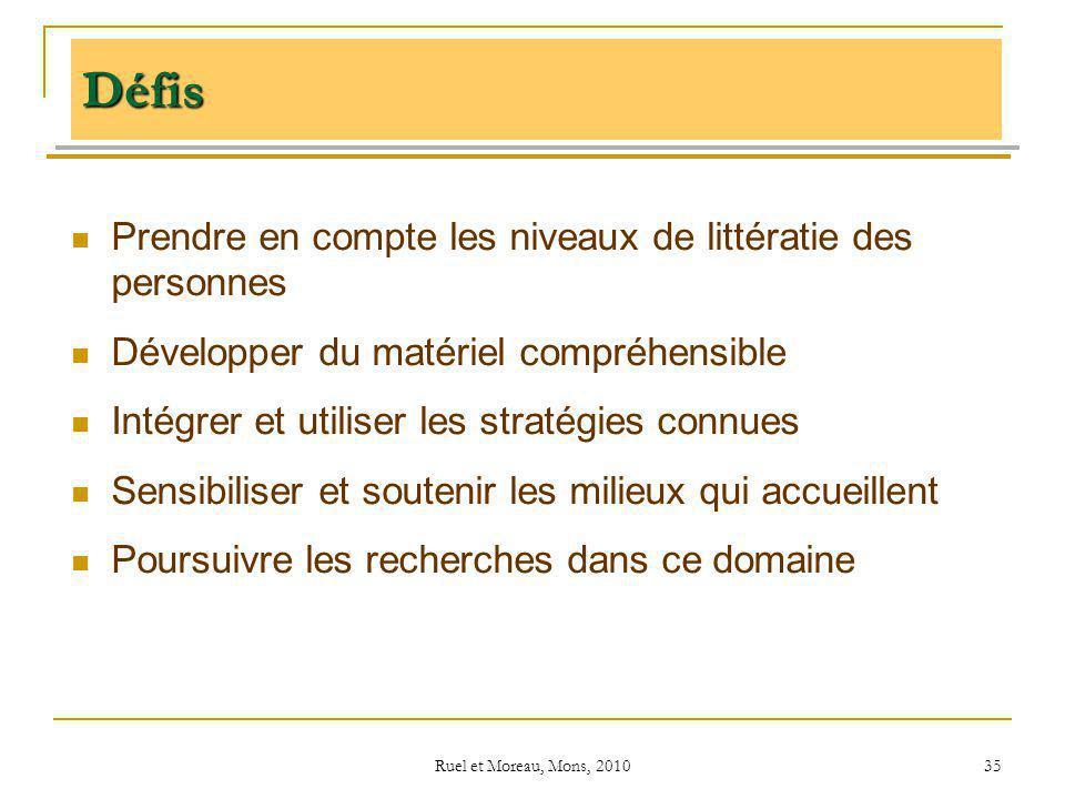 Ruel et Moreau, Mons, 2010 35 Prendre en compte les niveaux de littératie des personnes Développer du matériel compréhensible Intégrer et utiliser les
