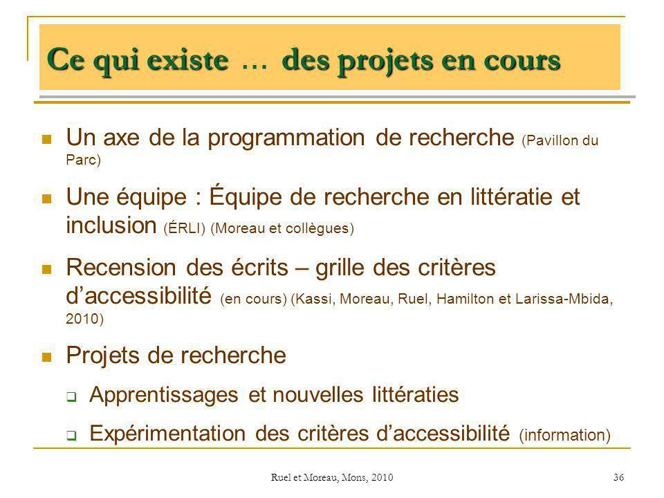 Ruel et Moreau, Mons, 2010 36 Ce qui existedes projets en cours Ce qui existe … des projets en cours Un axe de la programmation de recherche (Pavillon