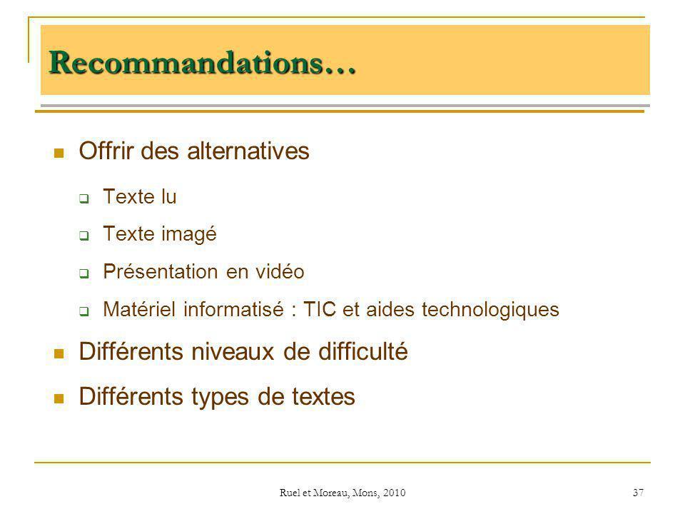 Ruel et Moreau, Mons, 2010 37 Recommandations… Offrir des alternatives Texte lu Texte imagé Présentation en vidéo Matériel informatisé : TIC et aides