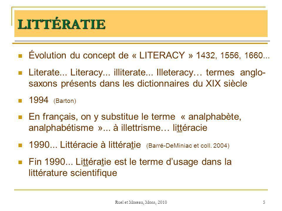 Ruel et Moreau, Mons, 2010 5 LITTÉRATIE Évolution du concept de « LITERACY » 1 432, 1556, 1660... Literate... Literacy... illiterate... Illeteracy… te