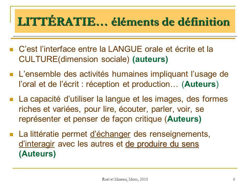 Ruel et Moreau, Mons, 2010 6 LITTÉRATIE… éléments de définition Cest linterface entre la LANGUE orale et écrite et la CULTURE(dimension sociale) (aute